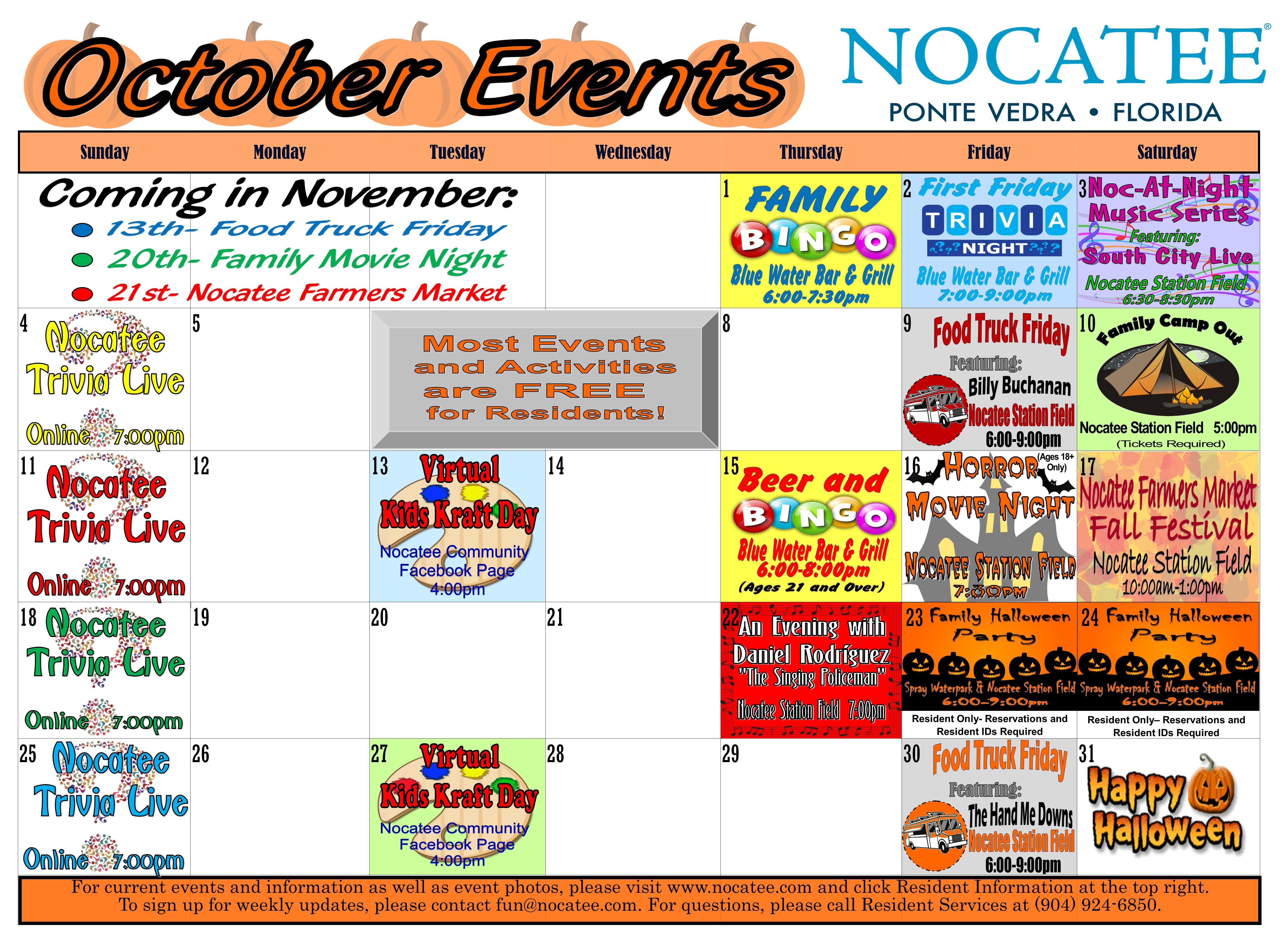 Celebration Town Fl Halloween Events Calendar 2020 Community Events and Activities | Nocatee